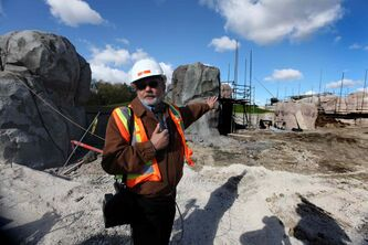 Assiniboine Park Zoo chief operations officer Don Peterkin takes members of the media through the construction site of the Journey to Churchill exhibit Thursday afternoon at the zoo.