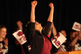 Rana Bokhari is shocked moments after winning the Liberal leadership race at the Hotel Fort Garry Saturday afternoon.