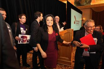 Rana Bokhari is all smiles moments after winning the Liberal leadership race at the Hotel Fort Garry Saturday afternoon.