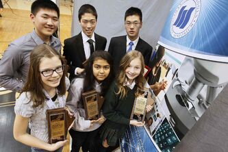 Alyssa Woodland (from left), Michael Xu, Ryan Wang, Maitry Mistry, Kristin Smith and Benjamin Liu with their awards Sunday. They will represent Manitoba in the nationals.