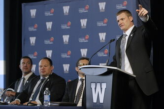 Winnipeg Blue Bombers head coach Mike O'Shea speaks of the good things to (hopefully) come during Monday's Fan Forum at Investors Group Field.