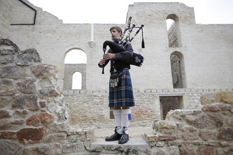 The great outdoors, like the Trappist Monastery Ruins in St. Norbert, are ideal places for bagpipers like Liam Speirs of the St. Andrews Pipe Band to practise.