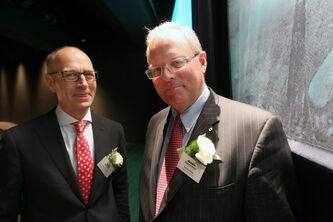 North West Company CEO Edward Kennedy (left), with  chairman Sandy Riley, after its annual general meeting.