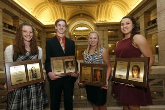 From left, Jessica  Gundrum, Cole Friesen, Paige Small and Atoosa Jalayeri each received a $1,000 scholarship.