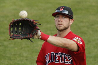 When he's not at the bat, Winnipeg Goldeyes first baseman Casey Haerther does a bang-up job in the field.