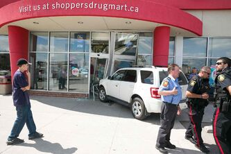 An SUV drove through the front doors of a Shoppers Drug Mart at Leila Avenue and McPhillips Street about 2:45pm Wednesday. No one was injured. The store is currently closed.