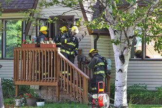 Firefighters attend a house fire at 333 Rutland Street close to Ness Avenue. Winnipeg Fire District Chief Stadnyk reported that there were no injuries, but the family has been transported to hospital for assessment. Damage could reach $25,000.