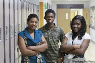 Dakota Collegiate students (from left) Celine  Tshibamba, Maliky Cole and Madeleine Musenga.