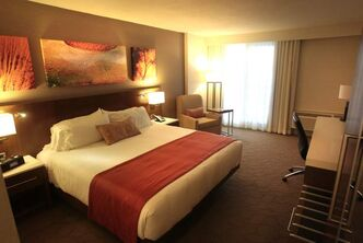 A renovated hotel room in the Delta chain's new design in the Delta Winnipeg.