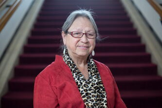 Maggie Paul, Indspire Award winner for the category of culture, heritage and art, poses at the Centennial Concert Hall in Winnipeg. The Indspire Awards annually recognize Indigenous individuals and youth who have demonstrated outstanding achievement in a variety of categories.
