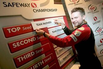 Mike McEwen slides his name into the position of top seed for the Safeway Championship during press conference at the Heather Curling Club Thursday.