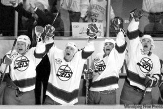 The Winnipeg Jets in their last regular-season game in the city April 12, 1996, a 5-3 win over the Los Angeles Kings that clinched a playoff berth.