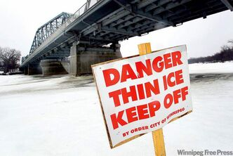 The spring melt on the way, creating dangerous conditions on icy waterways.