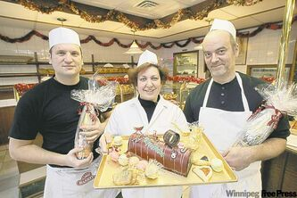 From left: Christophe Bonnin, Natthalie Gautier and Roland Coenen with some of their sweet creations at A l'Epi de Ble.