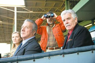 Joan Allen (from left), Dustin Hoffman, John Ortiz and Dennis Farina in a scene from Luck.