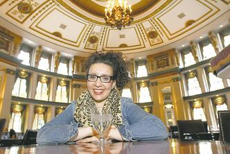 Connie Manfredi relaxes at her favourite Winnipeg locale: the Palm Room at the Fort Garry Hotel.
