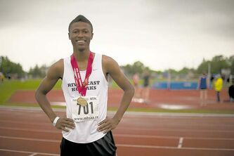 River East Collegiate's Alhaji Mansaray grabbed gold in the 100 metres Friday with a time of 11.82. He also won the high jump with a 2.0-metre leap.