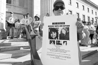June 26, 2012 - 120626  -  Family and friends and supporters gather at a march and vigil for murdered and missing women in Canada at the Manitoba Legislature Tuesday, June 26, 2012.    John Woods / Winnipeg Free Press