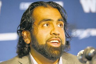 Obby Khan spent six seasons with the Blue Bombers.