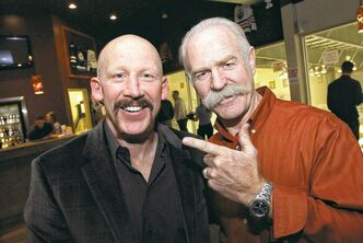 Mike Deal / Winnipeg Free Press Mike Keane's moustache is fair to middlin' but pales in comparison to the legendary lip hair sported by Lanny McDonald (right). Both players will be on the ice today for the Mike Keane Celebrity Classic.