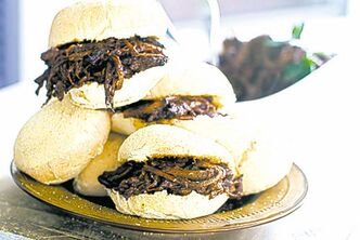 Sweet-and-tangy barbecue brisket sliders.
