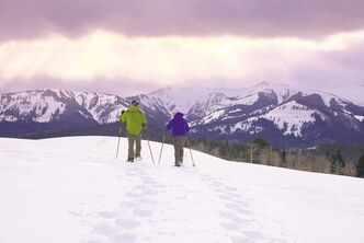 Cross-country skiing along the snow-covered plains at the ranch.
