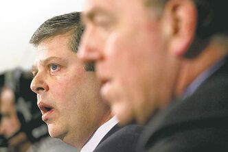 New Leafs GM Dave Nonis (left) was introduced by MLSE president Tom Anselmi at a news conference Wednesday.