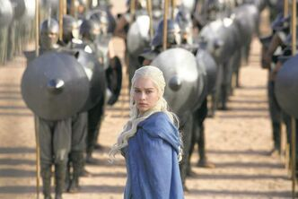 Emilia Clarks plays Daenerys Targaryen, who possesses three adolescent dragons and an unbending drive to reclaim the throne for her people, in Game of Thrones.