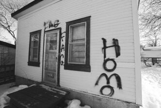 This house on William Avenue was vandalized earlier this week.