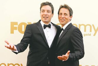 Jimmy Fallon (left) is handing the reins of his late-night show to Seth Meyers. Fallon will be moving up an hour  as Jay Leno's replacement on the Tonight show.