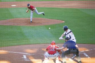 WInnipeg Goldeyes #26 Mark Hardy (pitcher), #18 Luis Alen (catcher). May 23 2013. Greg Gallinger photo.