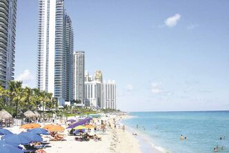 Sunny Isles  Beach, in Miami, Florida, is a four-kilometre stretch of beaches, parks and swish hotels and condos.
