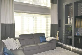 Polyester blinds in the family room are easy to clean.