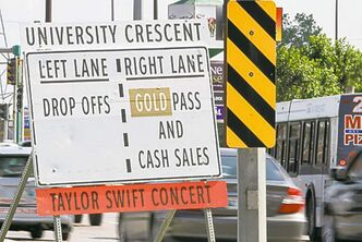 Signs at Pembina Highway and Plaza Drive helped align drivers correctly.