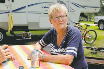 A tree fell on top of a tent and killed a camper from Quebec inside at Falcon Lake campground. Nearby camper Elsie Loewen talks to a reporter about what happened.