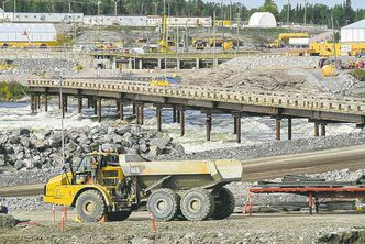 About 300 workers are involved in the construction of the new Pointe du Bois spillway and control gates.