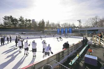 The Jets run a drill during a sunny outdoor practice Saturday morning at Lasker Ice Rink in New York City�s Central Park. They�re in town to play the Rangers Monday.