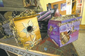 Decorated birdhouses made at the Red Road Lodge. (Phil Hossack / Winnipeg Free Press)