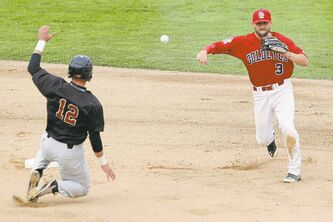 Winnipeg's Tyler Kuhn (3) forces K.C.'s Brian Erie out at second before throwing to first for the double-play.