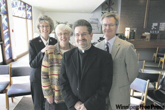 Maj. Susan van Duinen, left, the co-chair of Salvation Army's week of prayer for Christian Unity, with Anna Stewart, Rev. Robert Polz and Bruce Faurschou.