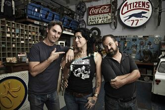 From left, American Pickers' Mike Wolfe, Danielle Colby and Frank Fritz.