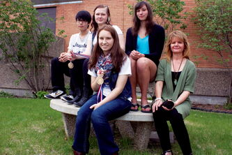 From left to right, Miles Macdonell Collegiate animation students Roy De Jesus, Dominika Kapustka, Alexandra Smith, and Stephanie Hunt are shown with teacher Cindy Feduniw. The four students won their respective divisions at April's Skills Manitoba Competition and will compete at nationals in Vancouver beginning June 5.