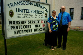 Transcona Memorial United Church Revs. Carol Fletcher and Jeff Cook are set to mark 25 years of leading the ministerial team on July 1.