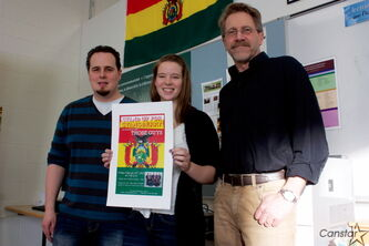 Collège Pierre-Elliott-Trudeau teacher Eric Miron, student Hayley Cressall, and teacher Larry Paetkau are organizing a fundraising concert to help send students to volunteer in Bolivia over spring break.