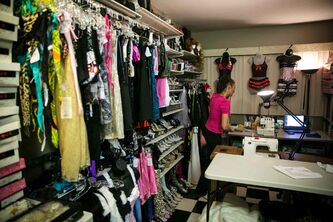 Maria Lillies in her dress shop Sexy Wear Exxxtreme inside the Chalet Hotel. Lillies sews outfits for a large majority of exotic dancers in Manitoba.