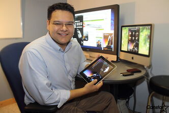 Darrick Baxter shows off the computer app he created to translate and help teach the Ojibway language.