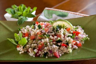 Tabbouleh is a Middle Eastern salad that relies on mint and parsley for flavouring.