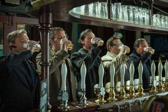 Happy hour: from left, Martin Freeman, Paddy Considine, Simon Pegg, Nick Frost and Eddie Marsan take their ale seriously.