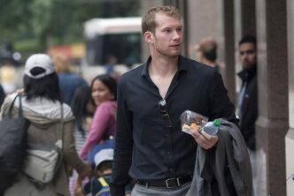 Toronto Maple Leafs goaltender James Reimer arrives for collective bargaining talks in Toronto on Aug. 14. The Manitoba native, who is in the province to visit his parents, skated with the Jets at the MTS Iceplex Friday.