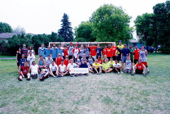 Participants in a soccer tournament held July 5 and 6 at Siddall/Werrell Park supporting Shinerama are shown.
